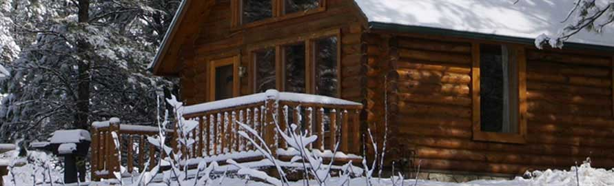 Snows blankets Newton Fork Ranch cabin